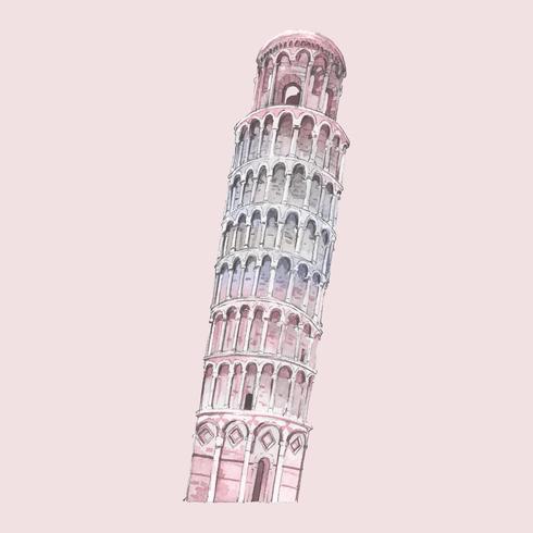 La torre inclinada de pisa pintada de acuarela.