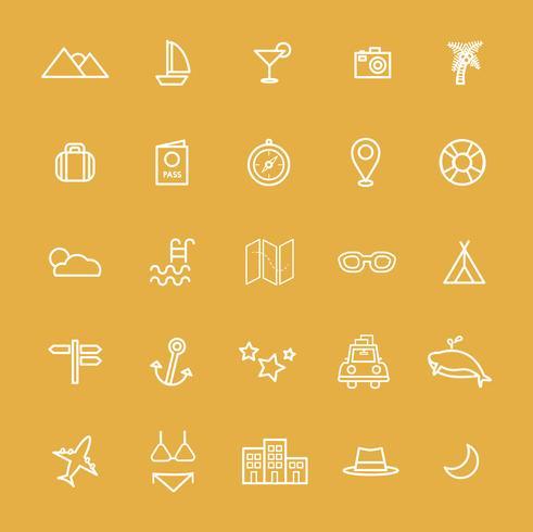 Illustration av rese ikoner uppsättning