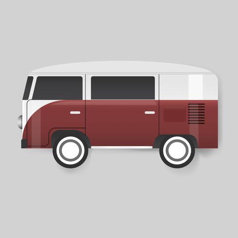 Vector rojo de Van Car Vehicle Travel Graphic Illustration