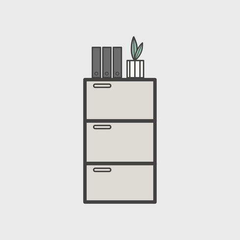 Ilustração, de, gabinete escritório, ícone