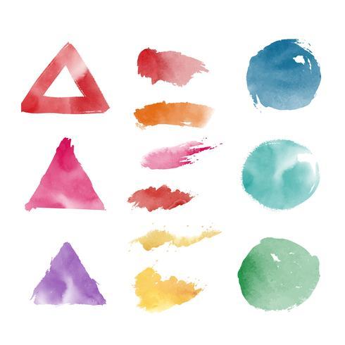 Akvarell geometriska former vektor uppsättning