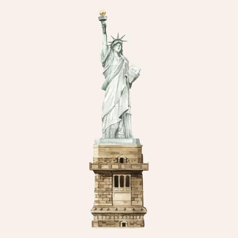 A, estátua liberdade, pintado, por, aquarela