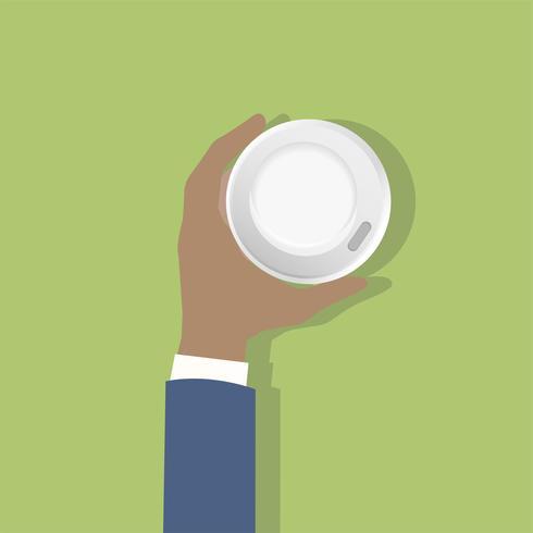 Illustrazione di una mano che tiene una tazza di caffè
