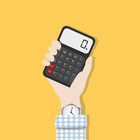 Illustrazione di una mano che tiene un calcolatore