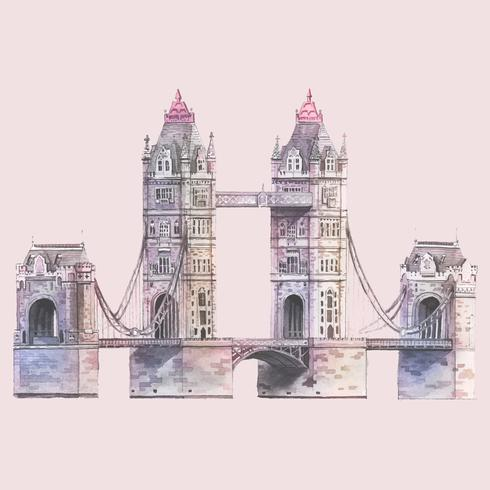 London Tower Bridge målad med akvarell
