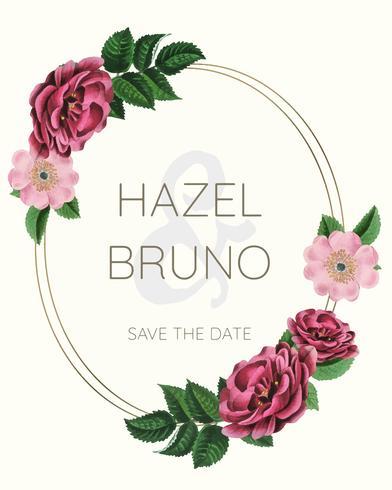 Wedding invitation with floral frame design vector