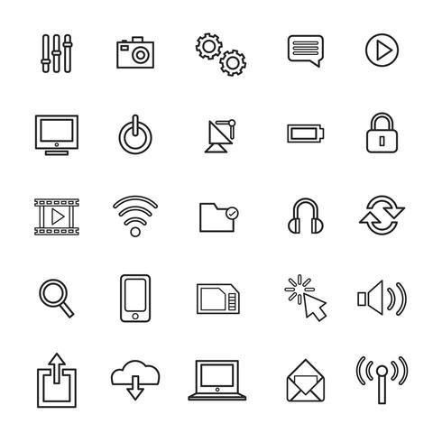 Ilustração, de, tecnologia, ícones, jogo