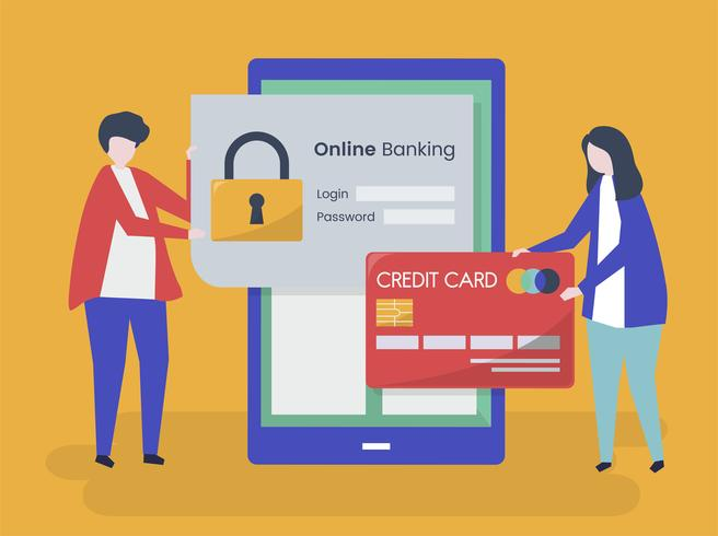 People characters and online banking security concept illustration
