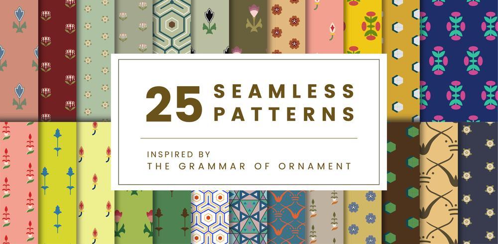 Set de 25 estampados vintage inspirados en la gramática del ornamento.