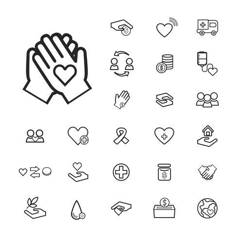 Ilustración del conjunto de iconos de apoyo de donación