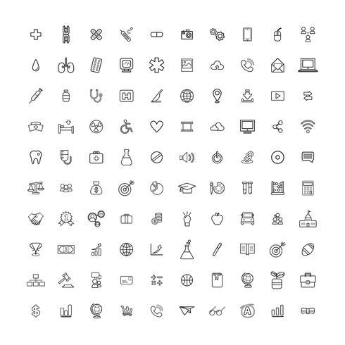Conjunto de ícones mistos de ilustração