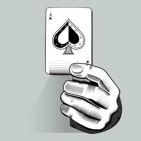 Vetor de mão segurando o cartão de jogo aleatório