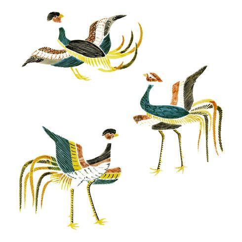 Ilustração Vintage da compilação de guindastes japoneses