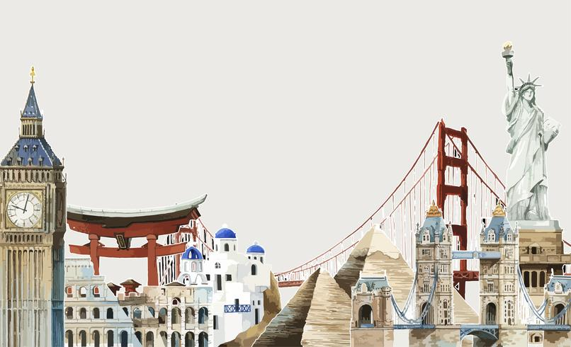 Colección de hitos arquitectónicos alrededor del mundo ilustración acuarela