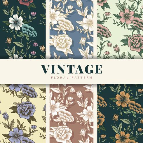 Vintage blommönster set