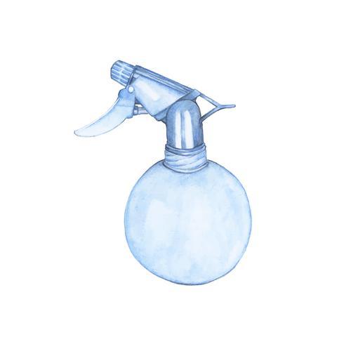 Frasco de spray de planta desenhada de mão
