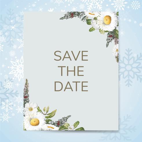 Salvare il vettore di scheda mockup invito matrimonio data