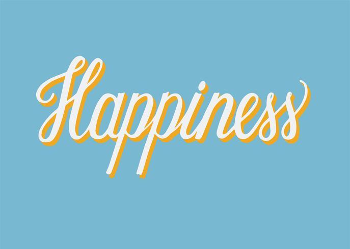 Handskriven typ av Happiness typografi