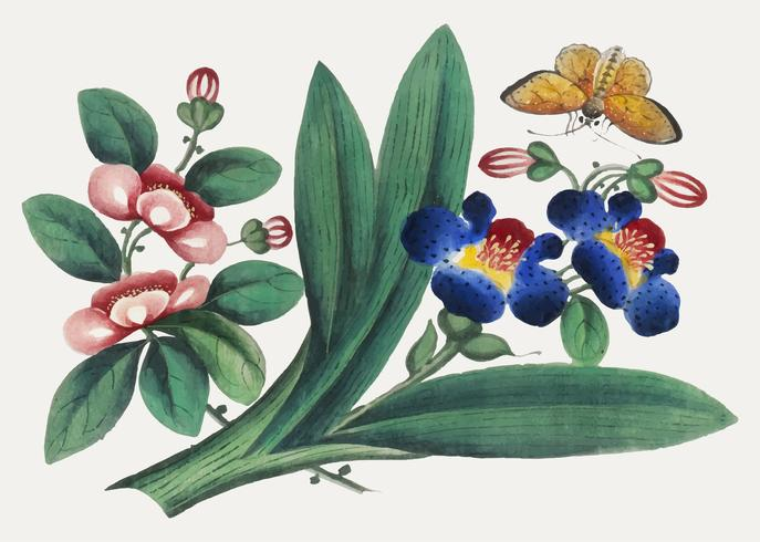 Chinese painting featuring flowers and a butterfly.
