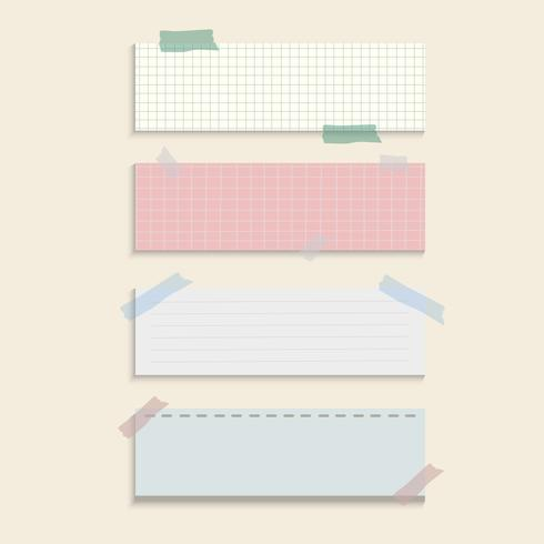 Rectangle reminder paper notes vector set