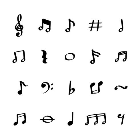 Illustration uppsättning ikoner med musiknoter