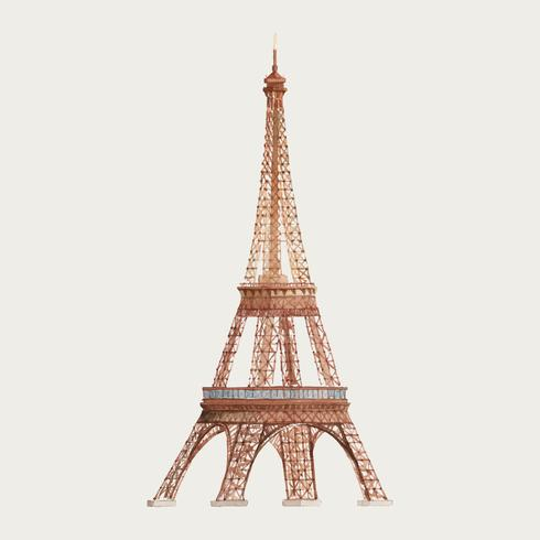 La torre Eiffel nell'illustrazione dell'acquerello della Francia