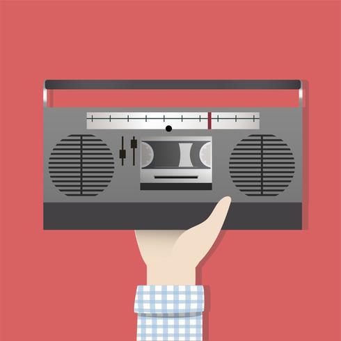 Ilustración de la mano que sostiene la radio