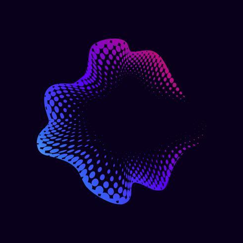 Vibrant halvton emblem på svart vektor bakgrund