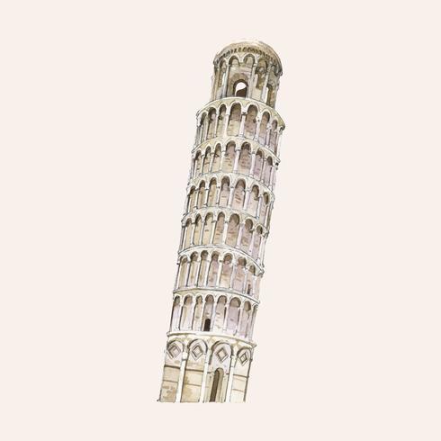 La torre pendente di Pisa dipinta da acquerello