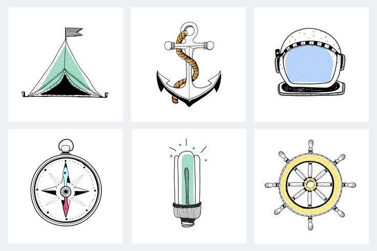 Doodle di attrezzature di esplorazione marina