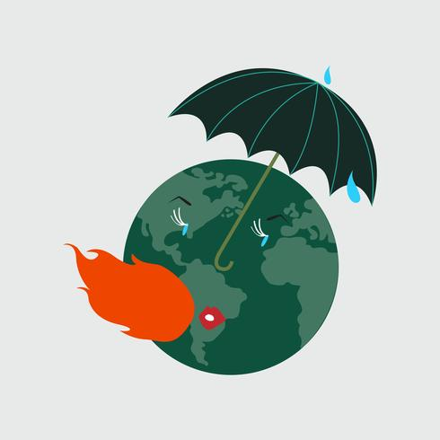 Protegiendo el planeta tierra del calentamiento global ilustración