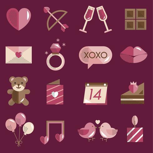 Le icone dei biglietti di S. Valentino hanno fissato il vettore