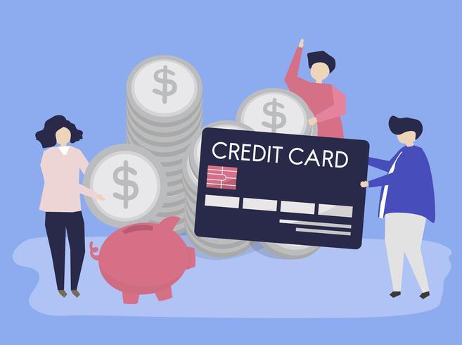 Caracteres de personas y ilustración de concepto de ahorro de efectivo