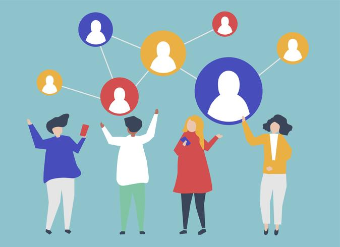 Caractères des personnes et illustration de leur réseau social