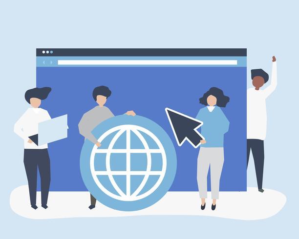 Tecken på personer som håller internet-sök ikoner illustration