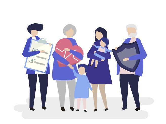 Tecken på en utökad familj med vårdillustration