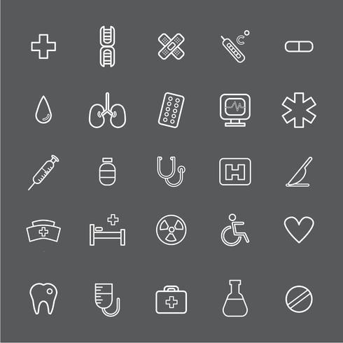 Ilustración de conjunto de iconos de hospital