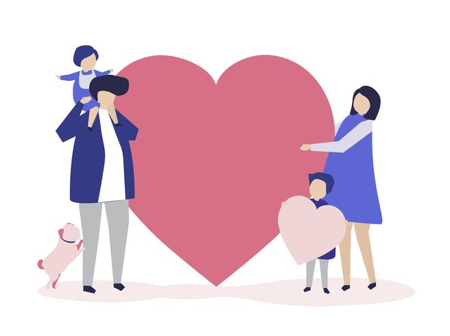 Characters of a family holding a heart shape illustration
