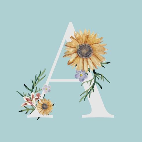 Buchstabe A mit Blüten