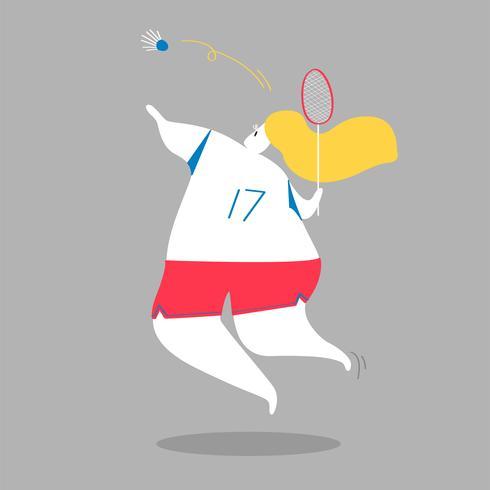 Ilustración de personaje de una jugadora de bádminton