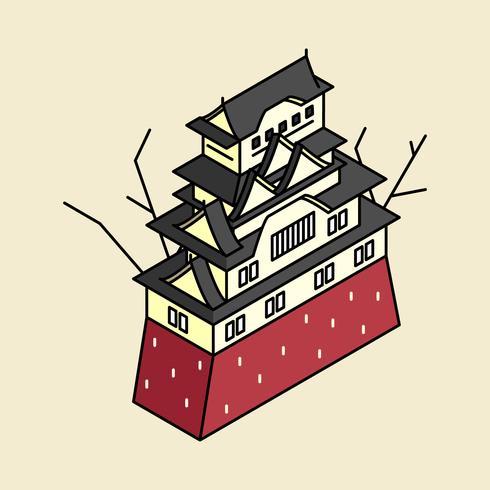 Ilustração do Castelo de Himeji no Japão