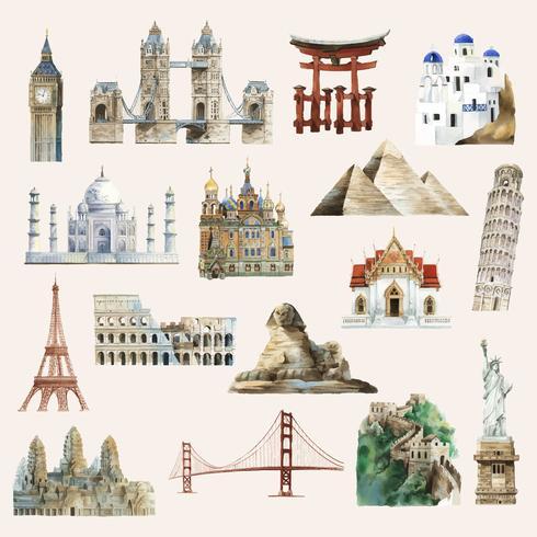 Samling av arkitektoniska landmärken målat med akvarell