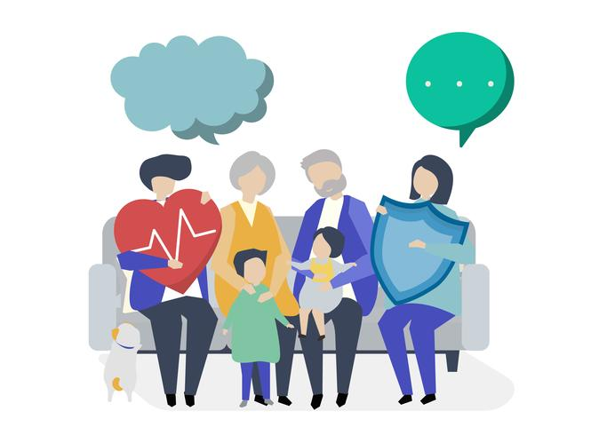 Personaggi di una famiglia allargata con illustrazione di assistenza sanitaria