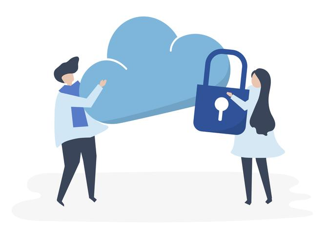 Caractères d'un couple et illustration de la sécurité dans le cloud