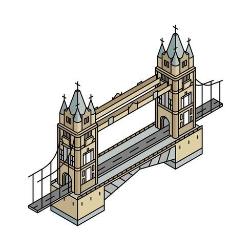 Illustration av London Bridge i Storbritannien