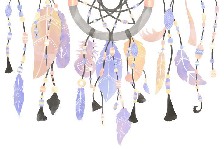 Illustration av drömfångare dekorerad med fjädrar