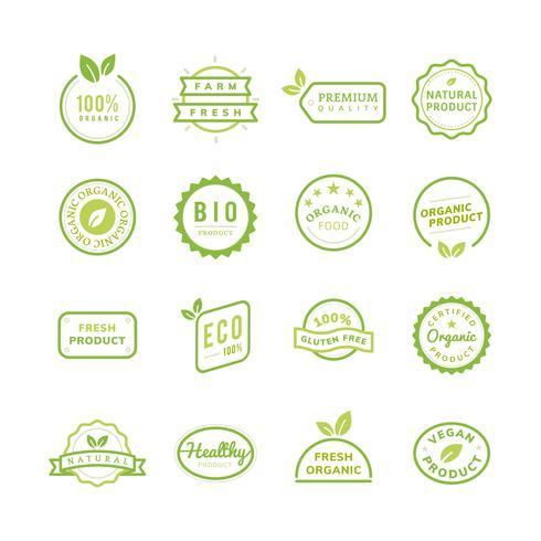 Organische Produktstempelembleme eingestellte Illustration
