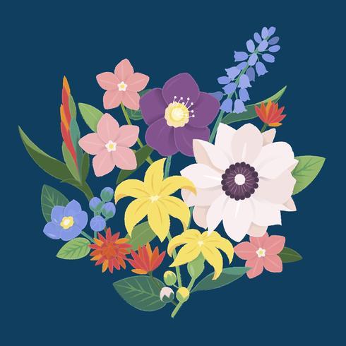 Illustratie van een boeket bloemen