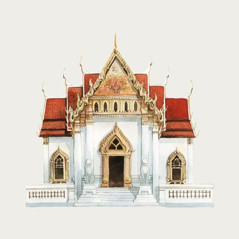 Wat Benjamabhopit temple in Bangkok illustration aquarelle
