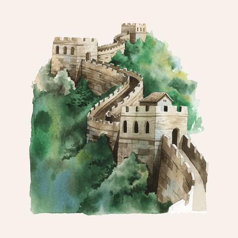 La grande muraglia cinese dipinta da acquerello